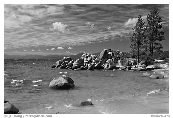 Beach and rocks, Lake Tahoe-Nevada State Park, Nevada. USA (black and white)