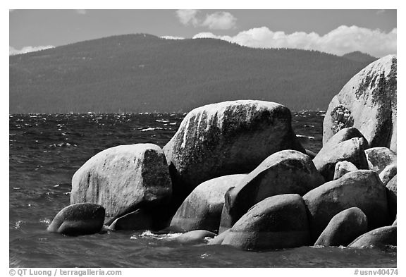 Boulders, lake, and mountains, Lake Tahoe-Nevada State Park, Nevada. USA (black and white)