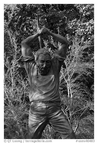 Statue honoring miners. Carson City, Nevada, USA (black and white)