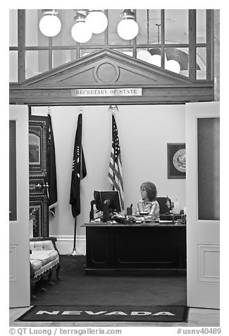 Office of the Secretary of State inside Nevada State Capitol. Carson City, Nevada, USA (black and white)