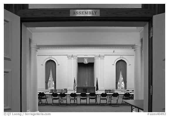 Assembly room inside Nevada State Capitol. Carson City, Nevada, USA (black and white)