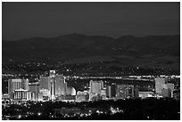Reno skyline at dusk. Reno, Nevada, USA ( black and white)