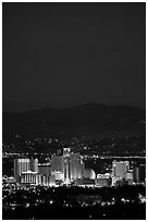 Reno skyline at night. Reno, Nevada, USA ( black and white)