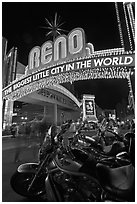 Motorbikes and neon sign at night. Reno, Nevada, USA ( black and white)