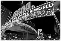 Biggest little city in the world neon sign. Reno, Nevada, USA ( black and white)
