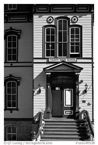 Fourth ward school entrance. Virginia City, Nevada, USA (black and white)