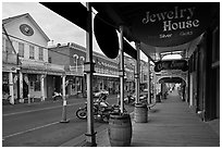 Gallery and main street. Virginia City, Nevada, USA ( black and white)