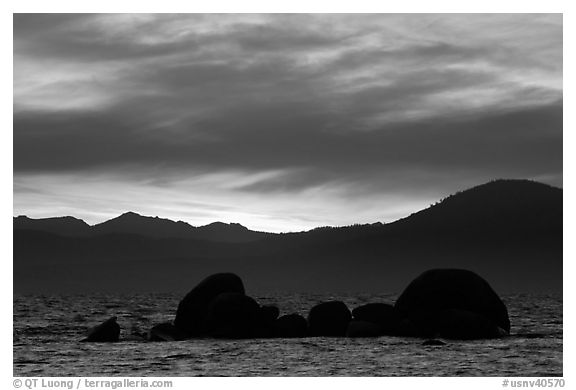 Rocks and mountains at sunset, Lake Tahoe-Nevada State Park, Nevada. USA (black and white)