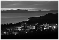 Stateline casinos and Lake Tahoe at dusk, Nevada. USA (black and white)