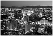 Las Vegas Strip lights seen from above at sunset. Las Vegas, Nevada, USA ( black and white)