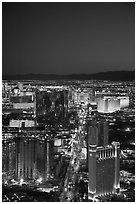 Las Vegas Boulevard and casinos seen from above at sunset. Las Vegas, Nevada, USA (black and white)