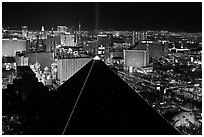 Luxor pyramid and Las Vegas skyline at night. Las Vegas, Nevada, USA (black and white)