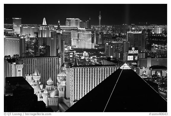Las Vegas strip and Casinos at night. Las Vegas, Nevada, USA (black and white)