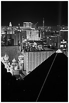 Hotel-casinos at night. Las Vegas, Nevada, USA (black and white)