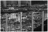 Restaurant and city reflections on glass windows, the Hotel at Mandalay Bay. Las Vegas, Nevada, USA ( black and white)