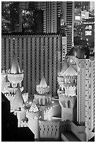 Excalibur towers from above. Las Vegas, Nevada, USA (black and white)