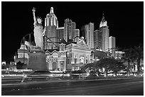 Las Vegas Boulevard and  New York New York casino at night. Las Vegas, Nevada, USA (black and white)