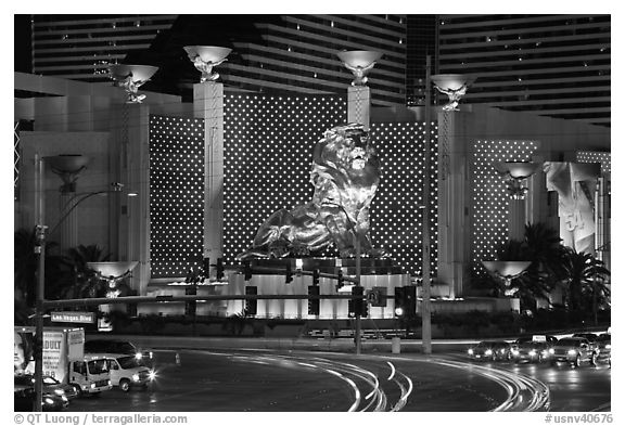 MGM lion and two women images. Las Vegas, Nevada, USA (black and white)