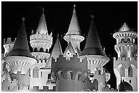 Castle-like Excalibur. Las Vegas, Nevada, USA (black and white)