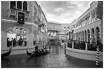 Grand Canal and shops inside Venetian hotel. Las Vegas, Nevada, USA ( black and white)