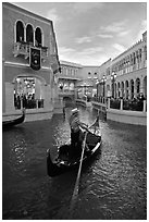 Gondola in Grand Canal inside Venetian hotel. Las Vegas, Nevada, USA (black and white)