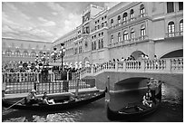 Gondolas and Saint Mark Square inside Venetian hotel. Las Vegas, Nevada, USA (black and white)