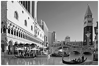 Gondola rides in front of the Venetian hotel. Las Vegas, Nevada, USA ( black and white)