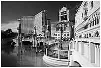 Venetian and Treasure Island hotels. Las Vegas, Nevada, USA (black and white)