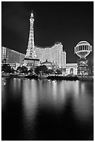 Paris Casino and Eiffel Tower reflected at night. Las Vegas, Nevada, USA ( black and white)