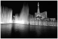 Bellagio fountains and Paris hotel by night. Las Vegas, Nevada, USA ( black and white)