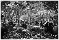 Botanical garden, Bellagio Hotel. Las Vegas, Nevada, USA ( black and white)