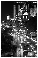 Congested traffic on Las Vegas Boulevard on Saturday night. Las Vegas, Nevada, USA (black and white)