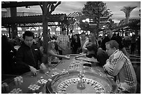 Roulette casino game. Las Vegas, Nevada, USA (black and white)
