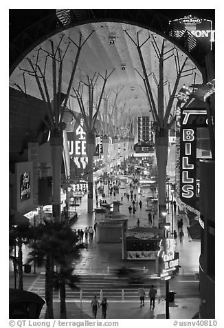 Fremont street canopy, downtown. Las Vegas, Nevada, USA (black and white)