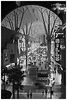 Fremont street canopy, downtown. Las Vegas, Nevada, USA ( black and white)