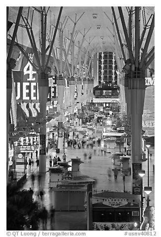 Fremont street experience, downtown. Las Vegas, Nevada, USA (black and white)
