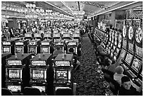 Gaming machines in casino. Las Vegas, Nevada, USA (black and white)