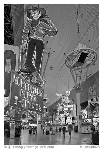 Fremont Street and intricate neon sights. Las Vegas, Nevada, USA (black and white)