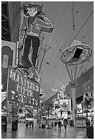 Fremont Street and intricate neon sights. Las Vegas, Nevada, USA ( black and white)