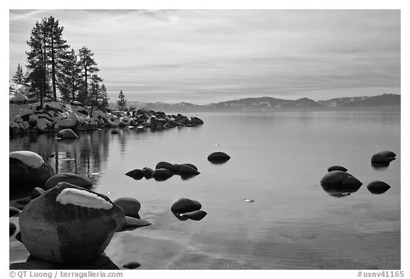 Shoreline in winter,  Sand Harbor, East Shore, Lake Tahoe, Nevada. USA (black and white)