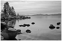 Shoreline in winter,  Sand Harbor, East Shore, Lake Tahoe, Nevada. USA ( black and white)