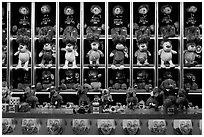 Rows of plush animals, Circus Circus. Reno, Nevada, USA ( black and white)