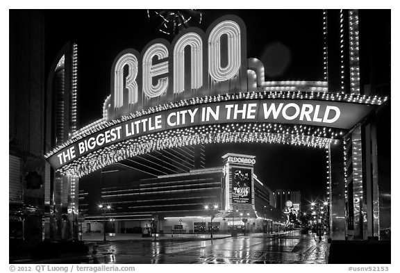 Biggest little city in the world sign by night. Reno, Nevada, USA (black and white)