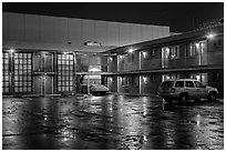 Motel on rainy night. Reno, Nevada, USA ( black and white)