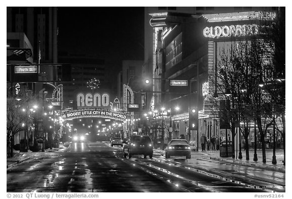 Downtown at night. Reno, Nevada, USA (black and white)
