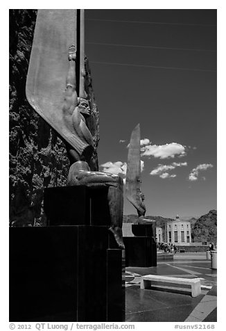 30 feet high bronze figures. Hoover Dam, Nevada and Arizona (black and white)