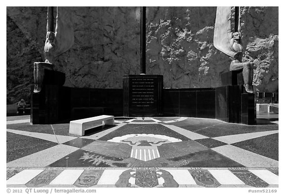 Dedication plaza. Hoover Dam, Nevada and Arizona (black and white)