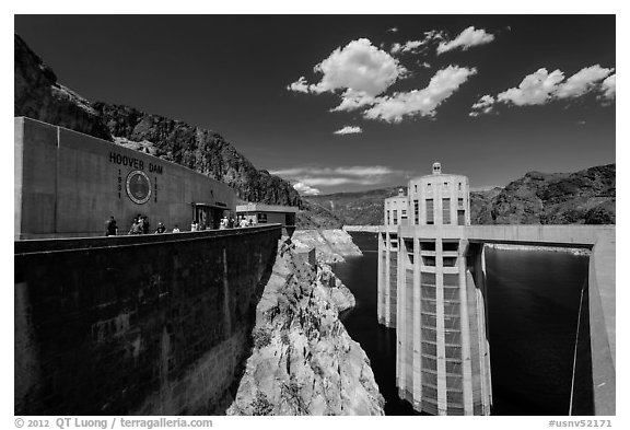 Penstock towers. Hoover Dam, Nevada and Arizona (black and white)