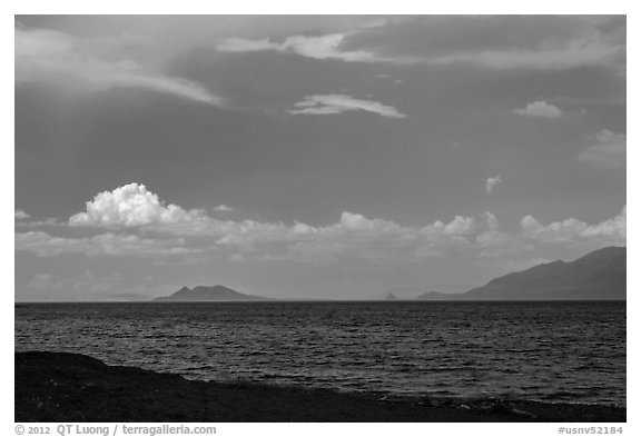 Windy afternoon on desert lake. Pyramid Lake, Nevada, USA (black and white)
