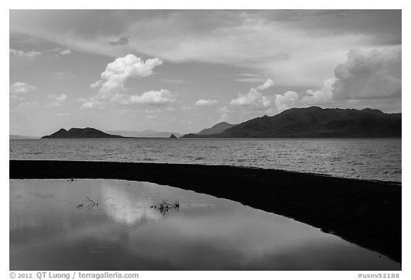 Reflection in pool. Pyramid Lake, Nevada, USA (black and white)